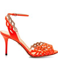 Charlotte Olympia Coralena Cutout Leather Sandals - Lyst