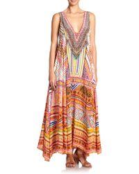 Camilla Embellished Printed V-Neck Silk Maxi Dress - Lyst