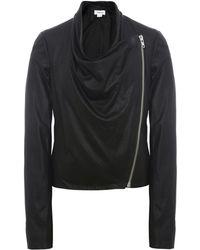 Helmut Lang Drape Front Leather Jacket - Lyst