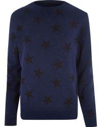 River Island Blue Star Print Sweatshirt - Lyst