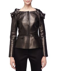 Burberry Prorsum Leather Knotshoulder Peplum Jacket Black 40 - Lyst