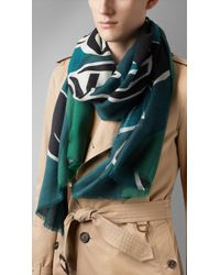 Burberry Brit - Insects Of Britain Print Cashmere Scarf - Lyst