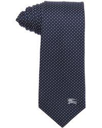 Burberry London Navy And Silver Microdot Print Silk 'Rohan' Tie blue - Lyst