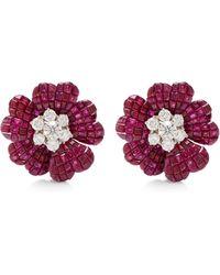 Simon Teakle - Vintage Van Cleef & Arpels Ruby And Diamond Earrings - Lyst