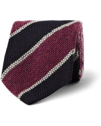 Drake's Striped Silk Mohair and Wool Blend Tie - Lyst