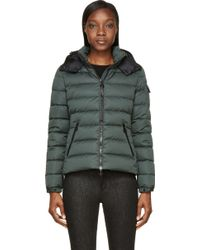 Moncler Green Matte Nylon Quilted Bady Jacket - Lyst