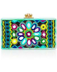 Edie Parker Jean Clutch With Embroidered Inlay - Lyst
