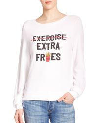 Wildfox 'Extra Fries' Printed Pullover white - Lyst