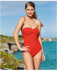 La Blanca Ruched Bandeau One-Piece Swimsuit - Lyst