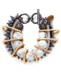 Venna   Marble Bead Crystal Spike Chain Link Bracelet   Lyst