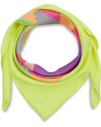 Christopher Kane - Yellow Screen Print Tulip Silk Scarf - Lyst