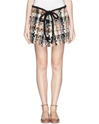 See By Chloé Geometric Houndstooth Wool Blend Skirt - Lyst
