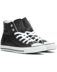 Converse Chuck Taylor All Star High Leather Sneakers with Shearling - Lyst