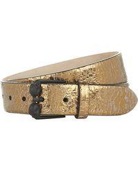 Alexander McQueen Twin Skull Buckle Metallic Leather Belt - Lyst