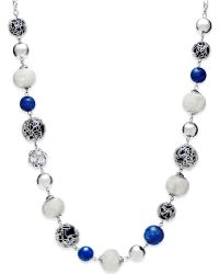 Style & Co. - Silver-tone Blue Jet Bead Long Necklace - Lyst