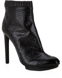 Alexander McQueen Pleat Trim Ankle Boot - Lyst