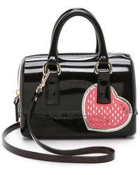 Furla Heart Printed Candy Sweetie Mini Satchel - Onyx And Pink - Lyst