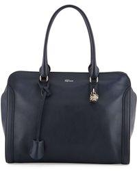 Alexander McQueen Padlock Zip-Around Satchel Bag blue - Lyst