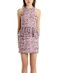 Charlotte Ronson Floral Peplum Dress - Lyst