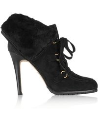 Oscar de la Renta Sisi Shearling And Suede Ankle Boots - Lyst