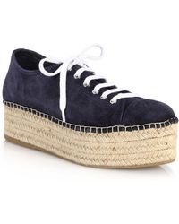 Miu Miu | Suede Lace-up Platform Espadrille Sneakers | Lyst