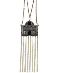 Topshop Cord And Chain Necklace With Pendant Detail - Lyst