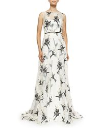 Carolina Herrera Daisy Floral Fil Coupe Gown - Lyst