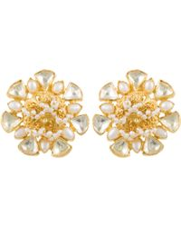 Kastur Jewels - Heritage Flower Pearl & Crystal Earrings - Lyst