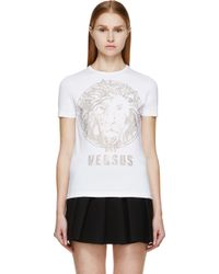 Versus  White and Gold Studded Lion T_shirt - Lyst