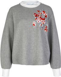 Jonathan Saunders - Grey Floral Embroidered Alisa Sweatshirt - Lyst