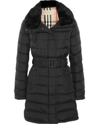 Burberry Brit Shearlingtrimmed Quilted Shell Coat - Lyst