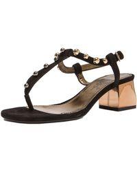 Lanvin Velvet Goatskin Chunky Sandals - Lyst