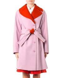 Jil Sander Navy Bi-colour Textured-wool Coat - Lyst