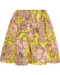 MSGM Floral-Print Textured-Silk Mini Skirt - Lyst