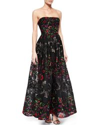 Elie Saab Strapless Floral-Embroidered Gown - Lyst