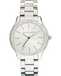 French Connection - Stone Surround Metal Strap Silver Watch - Lyst