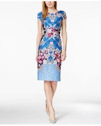 Eci - Floral-print Midi Sheath Dress - Lyst