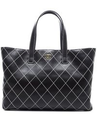 Chanel Preowned Black Lambskin Large Surpique Tote Bag - Lyst