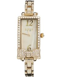Lipsy - Gold Tone Bracelet Watch With Bow Detailing - Lyst
