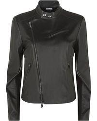 DKNY Collarless Leather Jacket - Lyst