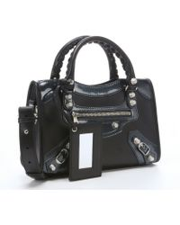 Balenciaga Black Patent Leather And Leather Convertible Top Handle Mini Tote - Lyst