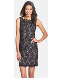 Adrianna Papell Boatneck Lace Sheath Dress - Lyst