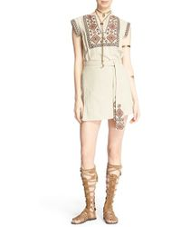 Free People | 'running Wild' Embroidered Minidress | Lyst