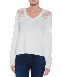 Michelle Mason Lace Inset Sweater - Lyst