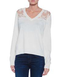 Mason by Michelle Mason Lace Inset Sweater - Lyst