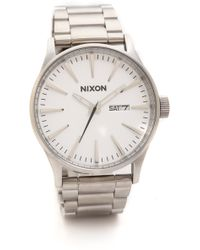 Nixon Sentry Watch  Silverwhite - Lyst