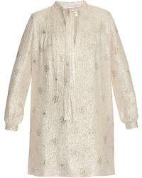 Saint Laurent | Self-tie Neck Silk-blend Jacquard Dress | Lyst