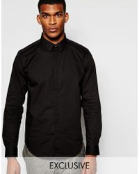 Wincer & Plant - Smart Shirt In Stretch Cotton With Covered Placket Slim Fit Exclusive - Lyst