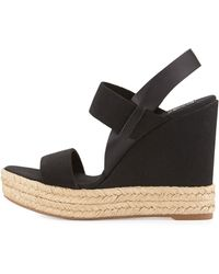 Tory Burch Two-Band Canvas Wedge Sandal - Lyst