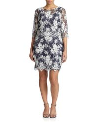 Kay Unger Beaded Lace Shift Dress - Lyst
